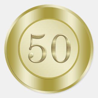 50.o aniversario de oro pegatina redonda