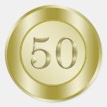 50.o aniversario de oro pegatinas redondas