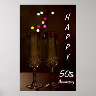 50.o aniversario feliz dos vidrios del poster