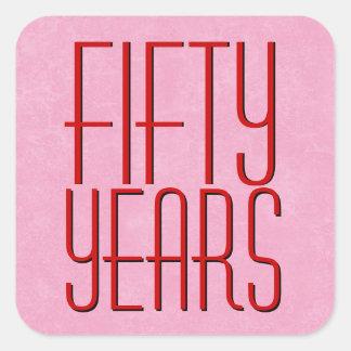 50.o aniversario moderno rojo y rosado pegatina cuadrada