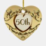 50.o Aniversario o 50.o ornamento del corazón del  Adorno Para Reyes