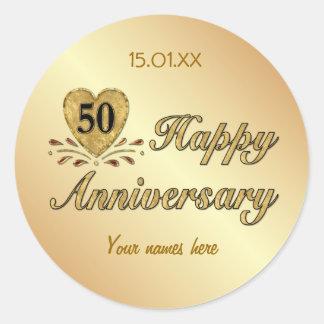 50.o aniversario - oro pegatina redonda