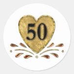 50.o aniversario - oro pegatinas redondas