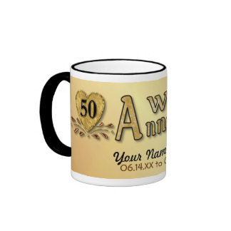 50.o aniversario - oro - personalizar taza de dos colores