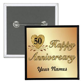 50.o aniversario - oro pin cuadrada 5 cm
