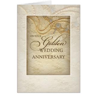 50.o aniversario, perlas y cordón de boda de oro tarjeta de felicitación