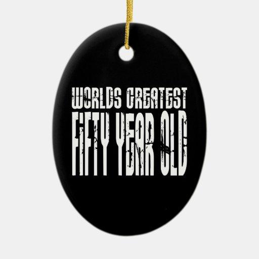50.o Años más grandes del mundo del cumpleaños 50  Ornamento De Navidad