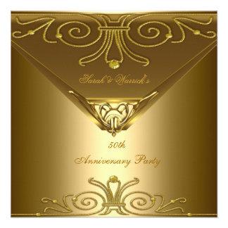 50.o Art déco elegante 2 del oro de la fiesta de a Invitación