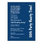 50.o azul caluroso de la fiesta de cumpleaños y invitacion personalizada