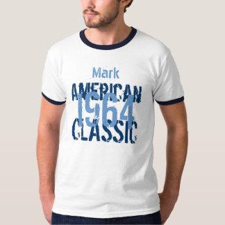 50.o Azul clásico del cumpleaños 1964 y blanco Polera