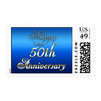 50.o azul del aniversario y franqueo felices del o