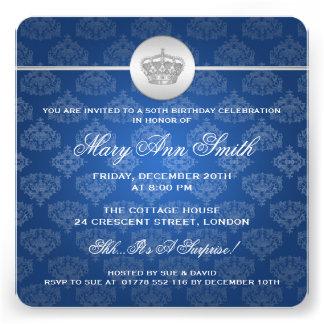 50 o azul real elegante de la corona de la fiesta anuncio