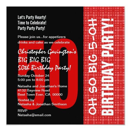 """50.o B204 rojo del cumpleaños y negro moderno Invitación 5.25"""" X 5.25"""""""