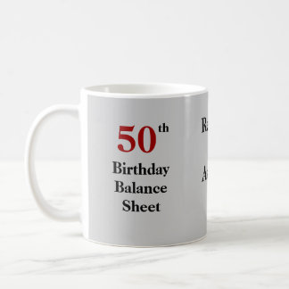 50.o Balance del cumpleaños - triple-echado a un Taza De Café