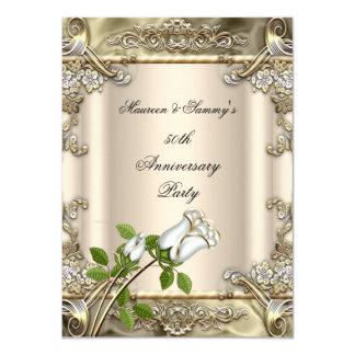 """50.o Beige subió boda del oro del aniversario Invitación 4.5"""" X 6.25"""""""