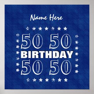 50.o Blanco azul N81Z de la fecha de la reserva Póster