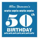 50.o Blanco azul V02 de la fiesta de cumpleaños de Invitación Personalizada
