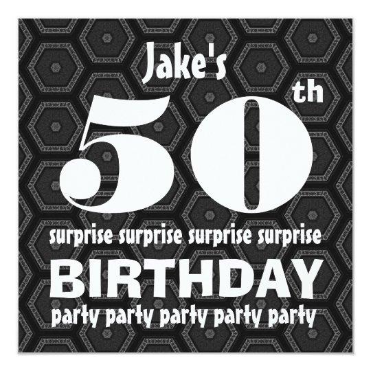"""50.o Blanco del negro de la fiesta de cumpleaños Invitación 5.25"""" X 5.25"""""""