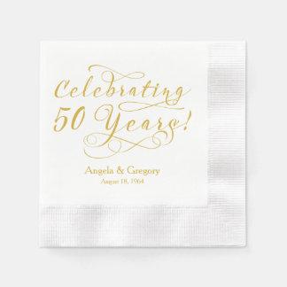 50.o blanco personalizado del oro del aniversario servilletas de papel