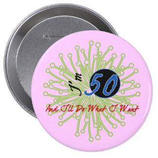 50.o botón de la fiesta de cumpleaños de la divers pin redondo de 4 pulgadas