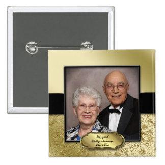 50.o Botón de la foto del aniversario de boda Pin Cuadrado