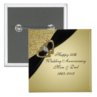 50.o Botón del aniversario de boda Pin Cuadrado
