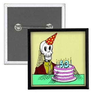 50.o Botón del cumpleaños Pin Cuadrado
