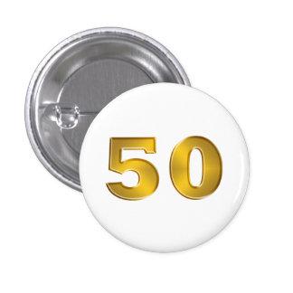 50.o Botones de oro del aniversario Pin Redondo De 1 Pulgada