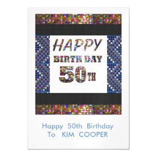 50.o cambio del cumpleaños o msg felices 50 del invitaciones magnéticas