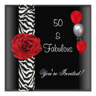 """50.o Cebra blanca del rosa rojo del negro de la Invitación 5.25"""" X 5.25"""""""