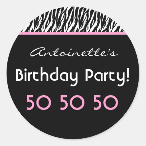 50.o Cebra de la fiesta de cumpleaños con el Etiquetas Redondas