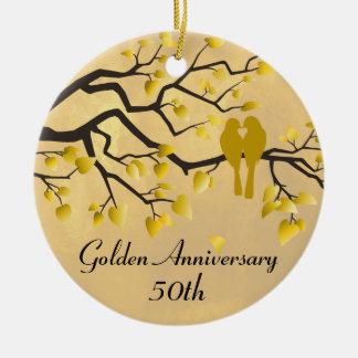 50.o Celebración personalizada aniversario Adorno Navideño Redondo De Cerámica