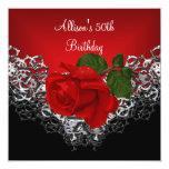 50.o Color de rosa de color rojo oscuro de la Invitaciones Personalizada