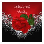50.o Color de rosa de color rojo oscuro de la plat Invitaciones Personalizada