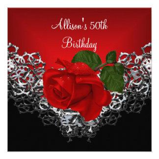 50 o Color de rosa de color rojo oscuro de la plat Invitaciones Personalizada
