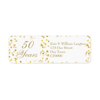 50.o Confeti de oro de los corazones del Etiquetas De Remite