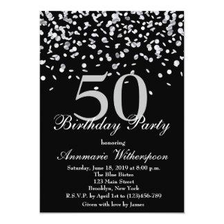 50.o confeti elegante de la plata de la invitación