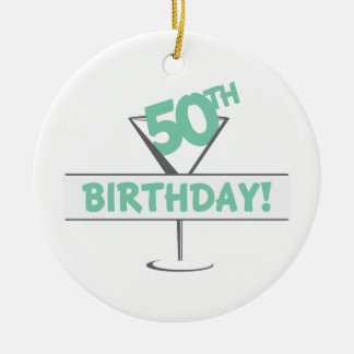 50.o ¡Cumpleaños! Adorno Navideño Redondo De Cerámica