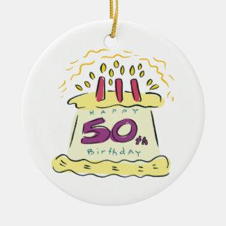 50.o Cumpleaños Adorno Navideño Redondo De Cerámica