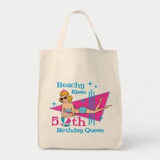 50.o cumpleaños afilado con playas bolsa tela para la compra