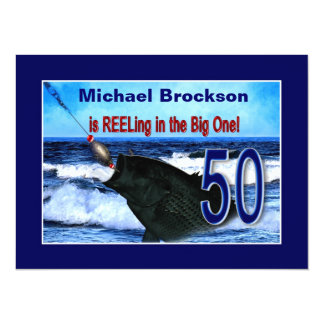 """50.o cumpleaños - aspando en el grande (pescados) invitación 5.5"""" x 7.5"""""""