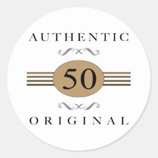50 o cumpleaños auténtico pegatinas redondas