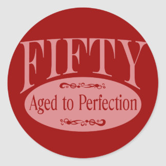 50 o cumpleaños cincuenta - envejecidos a la perf pegatina