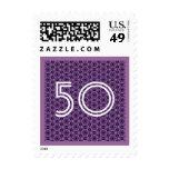 50.o Cumpleaños cincuenta o cualquier púrpura de Sellos