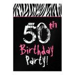 50.o cumpleaños de la cebra rosada blanca negra de invitaciones personalizada