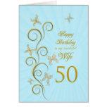 50.o cumpleaños de la esposa con las mariposas de  tarjeta