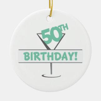 50.o ¡Cumpleaños! Adorno Redondo De Cerámica
