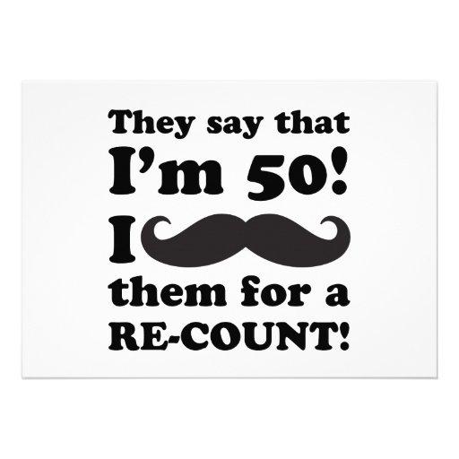 50.o cumpleaños del bigote divertido invitaciones personales