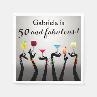 50.o cumpleaños del cóctel servilletas de papel