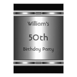 50 o cumpleaños del metal de la mirada del negro e anuncio